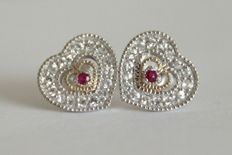 10k white gold earrings with rubies and topazes - 0.39 ct