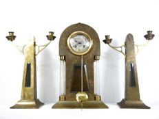 Art Deco clock set with glass columns and 2 candlesticks Ca 1900 the Netherlands