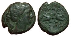 Greek Antiquity - Italy, Sicily, Agathokles - Æ (21mm; 8,56g) - Syracuse mint, c. 317-289 BC - Bust of Artemis / Thunderbolt - SNG ANS 708