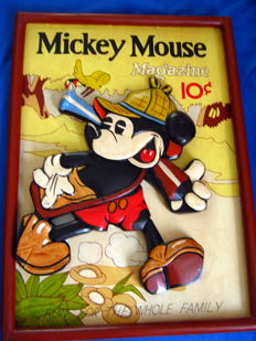 Disney, Walt - Wooden display/painting - Mickey Mouse Magazine 10ct (ca. 1962)