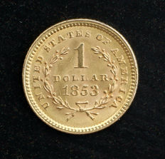 Etats-Unis - one Dollar gold  Liberty Head 1853