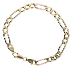 14 kt Bi-colour figaro link bracelet with yellow gold and white gold links and fitted with a rose gold clasp - Length: 21.7 cm