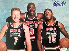 Magic Jonson firma a mano fotografía 8x 10 leyendas dream team 1992 ,JSA