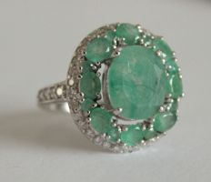 Silver ring with natural emeralds and topazes - Ring size: 18.5 (mm)