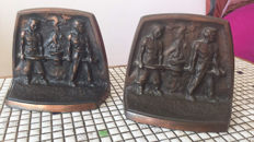 "Royal Iron foundry and Enamel factory ""Etna"" for Cornelis Klep - vintage, bronze bookends."