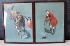 A.D.Gough - 2 classic (cartoons) screen prints / lithographs of an English hunter who is thrown from his horse