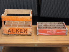 Vintage Coca cola crate with 24 sections from the 60s - 70s and vintage crate with 12 sections Alken 1962 Jamart Kerniel