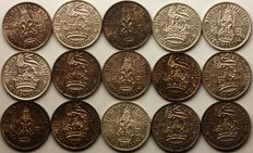 United Kingdom - Shilling 1939/1946 George VI (15 different) - silver