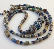 Ancient Nila excavation glass beads, - ca. 70 cm