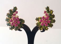 Crown Trifari Alfred Philippe Gold Plated Floral Earrings