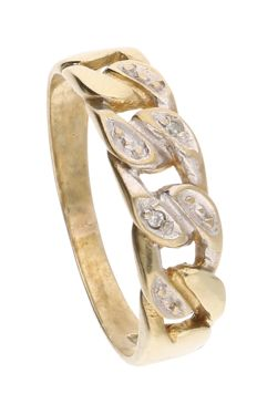 Below legal gold grade 8 kt - bi-colour open worked ring set with 2 diamonds of 0.01 ct in total - ring size: 16.75 mm.
