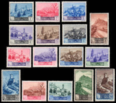San Marino 1949 – Landscapes – Complete series – 16 values