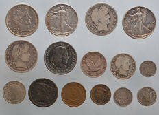 United States - Lot of 15 coins - 1845/1945