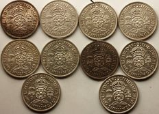 United Kingdom - Florin (Two Shillings) 1937/1946 George VI (10 coins) - silver