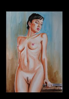 Original ; Kerstin Haase - Nude Woman Short Hair - 2017