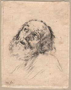 Stefano della Bella (1610-1664) - Four etchings with head of old men - Ca. 1647