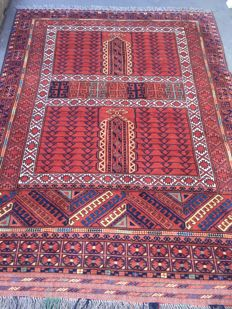 Nice antique Carpet, Turkmen Afghan Hatchlou, handmade, 168 x 220 cm