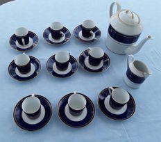 Limoges porcelain coffee set in cobalt blue - Ettore Bugatti