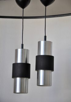 "Philips – Two Argenta aluminium pendant lights ""model NPS 132"""