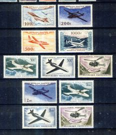 France 1954-60 – Prototypes airmail,  3 complete series – Yvert PA  30 to 41