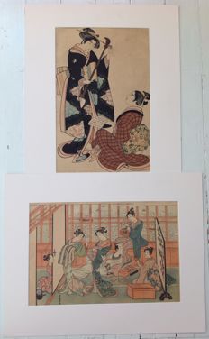 Two reprint pastel-coloured woodcuts by Kitao Shigemasa (1739-1820) and Isoda Koryusai (active 1764-1788) - Japan - Approx. 1920