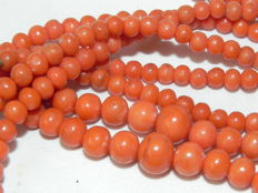 9 kt gold clasp coral necklace