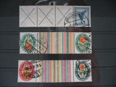 German Empire - Weimar 3 rare se-tenants, Michel W 21.3, KZ 13 and KZ 15