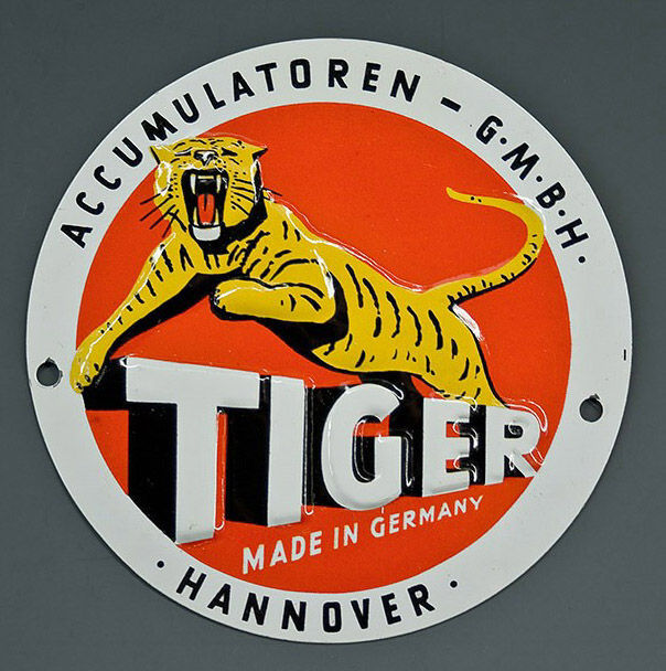 'Tiger Akkumulatoren' - door shield - door plate - Doorsign - Germany around  1950 + metal sign for Howe Bicycles