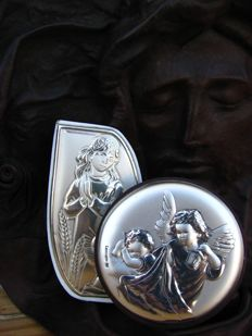 Two angels with silver decorative engravings and the face of Jesus Christ, engraving in genuine leather - second half of the 20th century