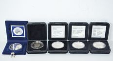 Aruba and Netherlands Antilles – 25 Florin 1986, 1991 and 1992 + 25 guilder coins 1990 and 1994 (5 different ones) – silver