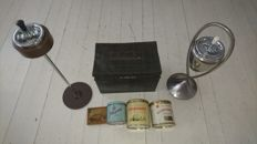 Cigar - rumble dryer + 2 x standing ashtray + pipe tobacco cans 19th/20th century.