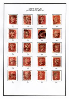 Great Britain Queen Victoria 1864/1879 - Stanley Gibbons 43/44 1d Red Plate 102 Sheet Reconstruction Lettered AA-TL