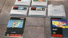 4 Super Nintendo Games Snes and a super gameboy  - games  Mario Kart ,Donkey Kong ,Yohi's Island and Pilot Wings