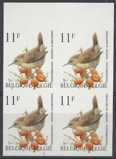 Belgium – OBP no. 2449 Wren 11F Buzin IMPERFORATED in block of 4 with number