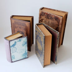 Four very nice wooden classic-looking books with a secret compartment. - end 20th century
