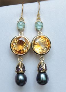 Silver earrings with natural pearls, rubies, topazes and citrine - Length: 6.2 cm