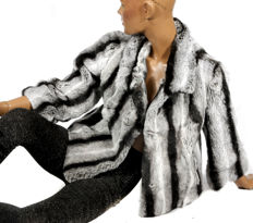 Soft and light fur jacket made from rex rabbit fur similar to chinchilla