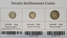 Straits Settlements Coins - Lot of 3 coins 10 & 20 cents - 1877/1919 - silver
