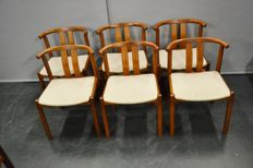 Designer unknown - 6 teak wooden dining room chairs.