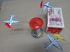 "Schopper, Western Germany - Height of 20 cm - ""Airport Tower"" tin, mechanism, 1970/1980"