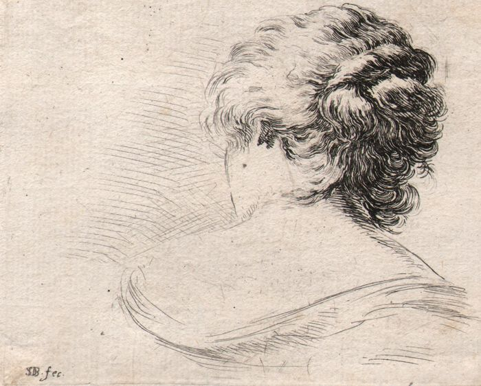 Stefano della Bella (1610-1664) - Four etchings with head of women - Ca. 1647