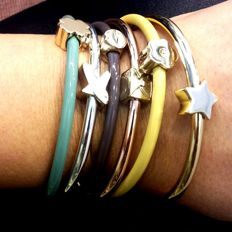 Set of 5 Mudra bangles, made in Italy