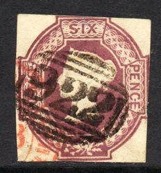 Great Britain Queen Victoria 1854 - 6d Dull Lilac Embossed Issue, Watermark Reversed, Stanley Gibbons 59