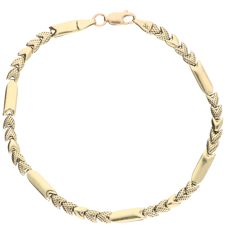 14 kt yellow gold link bracelet with smooth links and decorated, heart-shaped links – 20.2 cm