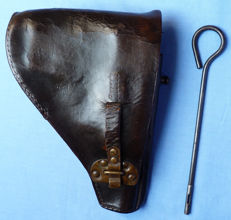 Rare C.WWII Dutch Netherlands FN Browning Model 1922 Leather Pistol Holster - with Cleaning Tool