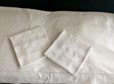 Top-sheet for double bed in ancient metis fabric + 2 pillowcases  - France - early 1900