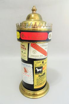 Liquor bottle with music box shaped as an old advertising pillar - 2nd half 20th century