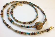 Necklace with Egyptian faïence-beads - approx 60 cm
