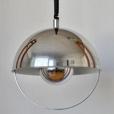 Designer and manufacturer unknown – Chrome, spherical pendant light with tension spring.