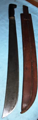 Original American machete, no. 128 maker: Legitimus Collins & co., with leather sheath, stamps, and frog, w.w. 2